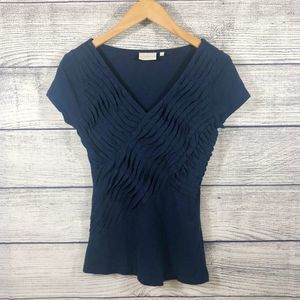 Deletta Blue pleated V neck short sleeve top